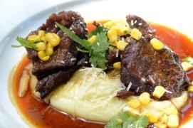 Juicy beef cheeks on parmesan potato puree at Racine, Franschhoek