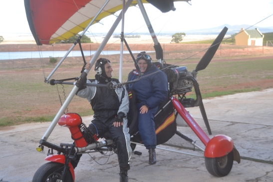 Safely back after scary but exhilirating microlight flight
