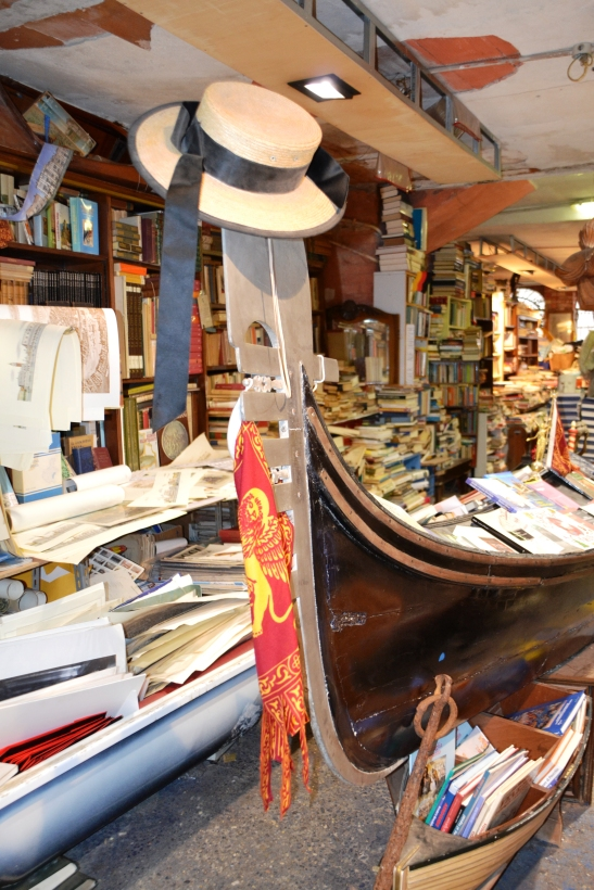 At Acqua Alta books are displayed in gondolas and canoes