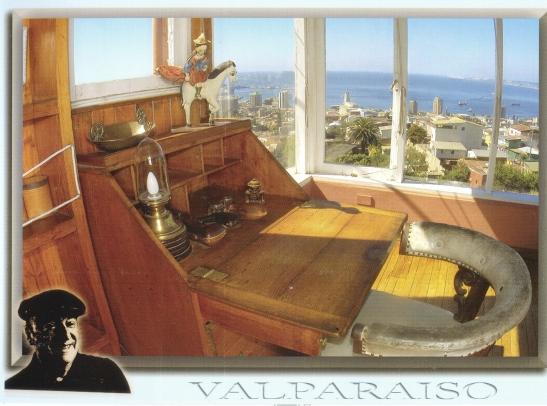 'n Poskaart van Pablo Neruda se studeerkamer wat aan die wind uitgelewer was