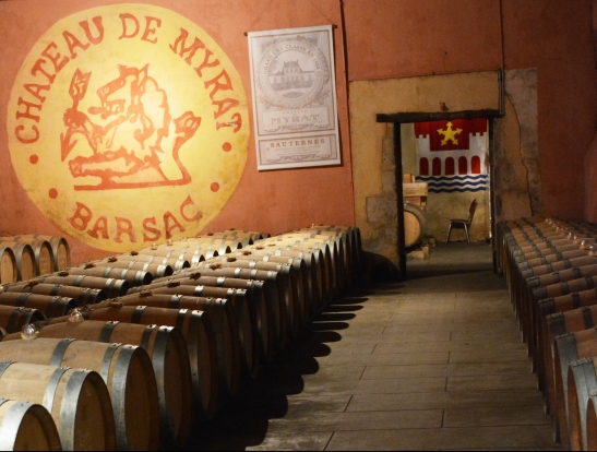 One of the cellars seen on a personalised cellar tour of Chateau de Myrat