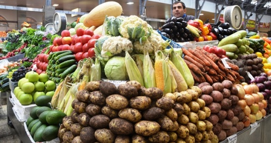 At Kuznechny Market fruit, vegetables, fresh honey and caviar are sold