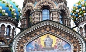 The elaborate facade of the Church of our Saviour on the Spilled Blood