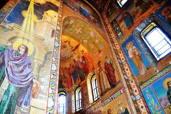 The spectacular mosaic panels in the Church on Spilled Blood