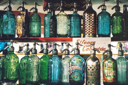 vintage soda siphons abound
