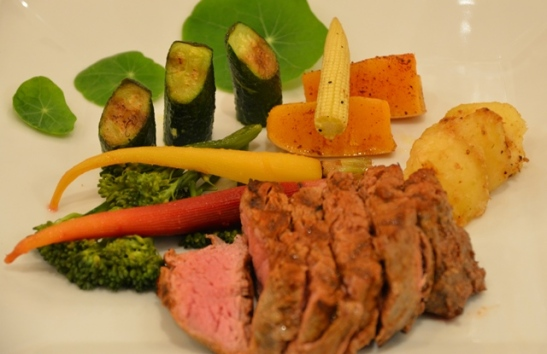 A trio of nasturtium leaves and fillet cooked to perfection