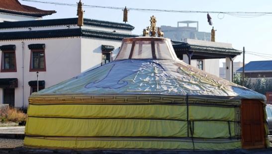 'n Tradisionele ger (Mongoliese tent) by die Gandan Monnikklooster