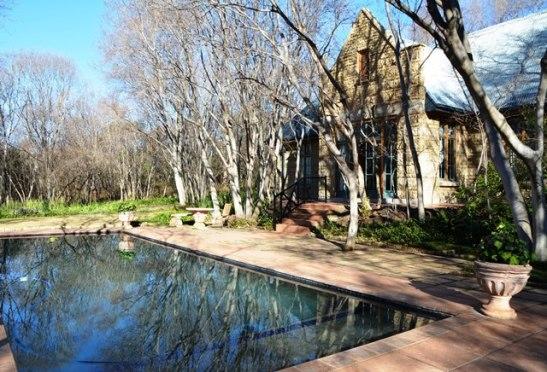 Laatmiddag gooi die bome hul skadu's in die water, op die plaveisel en op aangrensende geboue