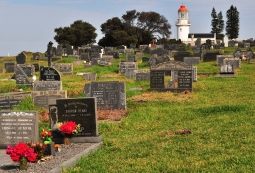 Walk through a quaint graveyard to get to Hood Point Lighthouse in East London