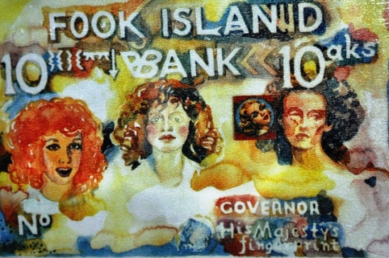 A bank note from Fook Island - Battiss created the concept of this utopian island