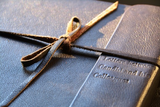 Correspondence between Gandhi and his colleagues has been bound in leather