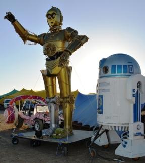 Die robotte G3PO en L2H2 is spesiaal vir Afrikaburn deur Marcelle de Quervain gebou