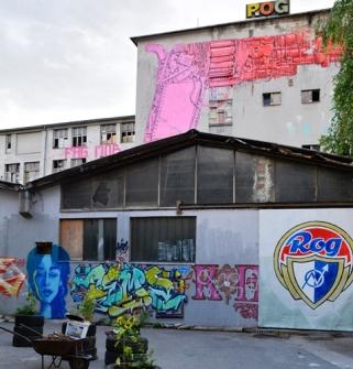 By die Republief van Rog woon graffitikunstenaars in 'n ou fabrieksgebou
