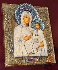 Kyk net die fynste inlegwerk op hierdie ikoon by die Verlosserklooster in Suzdal, Rusland