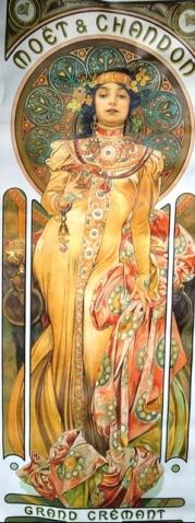 'n Plakkaat met 'n advertensie van Franse sjampanje; dit is een van Mucha se bekendste werke