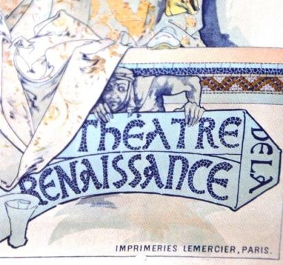 Speelse detail op die plakkaat vir Sarah Bernhardt wat deur Mucha ontwerp is