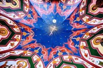 'n Deel van die plafon in St Basil Katedraal op die Rooi Plein in Moskou, Rusland
