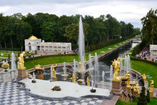 A view from the gardens of Peterhof down to the Neva River