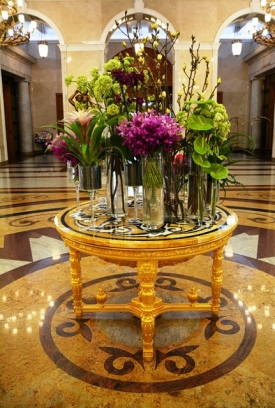 The plush foyer of the Radisson Royal Hotel Moscow