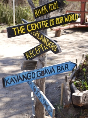 Signage all over the place ensures that you won't get lost at Ngepi Camp