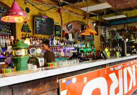 The mismatched eclectic interior of one of the rooms at Szimpla Kert, the first ruin pub that opened in Budapest