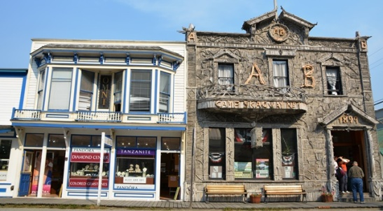 The most photographed building in Skagway is the former Arctic Brotherhood Hall, decorated with thousands of pieces of driftwood