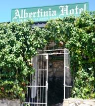 Die ingang van die Albertinia Hotel verklap nie die gasvryheid wat binne wag nie; koop eers aalwynprodukte op die N2 aan die buitewyke van die dorp