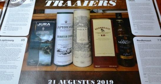 Met elke byeenkoms proe die lede van die Traaiers-whiskyklub vier of 5 whiskies; party neem notas, ander nie