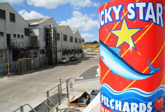 A pilchard (can) overlooks the factory at Gansbaai harbour