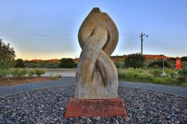 It took more than one attempt before the Koeksister Monument in Orania was plaited in the correct manner - photo supplied by the Orania Beweging