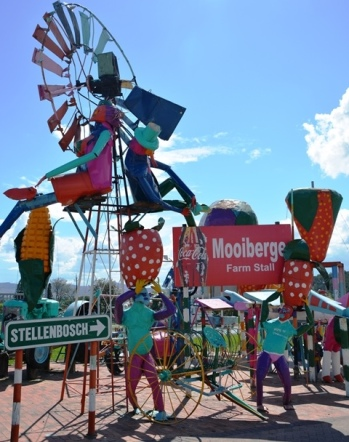 The scarecrows at Mooiberge have strawberry hats and a large phallic mielie sticking out from a tractor