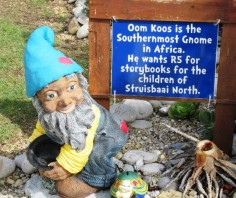 The southernmost gnome in Africa collects donations for story books for children